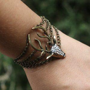 Stag Deer Gem Multi Chain Cuff Bronze Bracelet